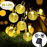 Cshare ソーラー LED ストリングライト イルミネーションライト USBも充電可能 50電球 7M IP65防水 8モード 夜間自動点灯 クリスマス/ハロウィン/パーティー/バレンタインデー/新年/祝日/結婚式/学園祭屋外/室外/室内/庭対応 ソーラーパネル 飾りライト