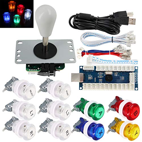 SJJX Arcade Game Stick DIY Kit Buttons with Logo LED 8 Way Joystick USB Encoder Cable Controller for PC MAME Raspberry Pi Color Mix