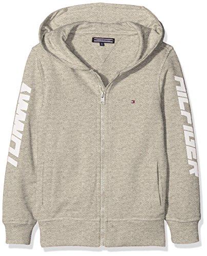 Tommy Hilfiger Jungen AME Hilfiger Hooded Zipthru Sweatjacke, Grau (Light Grey Htr 061), 152 (Herstellergröße: 12)