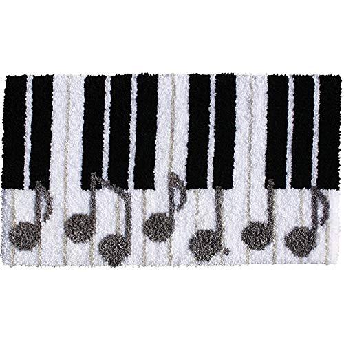 20.5x15 Pulgadas Cierre de Gancho Kits de alfombras Alfombra Bordado Latch Gancho Alfombra Cosework DIY Alfombras Gancho Alfombra Kits, Piano