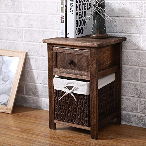 EXQUI Bedside Table Vintage Wooden Night Stand Storage Unit Cabinet with Drawer and Removable Wicker Woven Basket for Bedroom Living Room, Vintage Brown,28x30x45cm, G141B