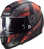 LS2 NC Casco per Moto, Hombre, Negro/Rojo, L