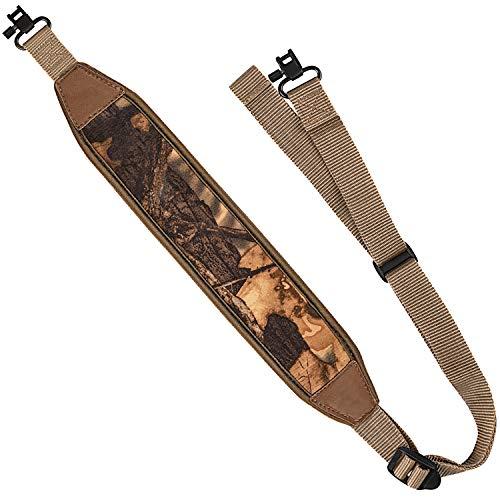 EZshoot 2 Point Rifle Sling with Swivels, Anti-Slip Shoulder Padded Strap, Length Adjustable Gun Sling for Outdoors Khaki