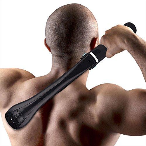 Eurobuy Body Shaver Back Hair Removal con mango extra largo para afeitadora sin dolor, diseño inalámbrico y plegable, perfecto para uso en seco y mojado – (no incluye batería AA)