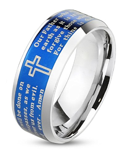 Artisan Owl Lord's Prayer Blue Beveled Edge IP Stainless Steel Ring with Cross (10)