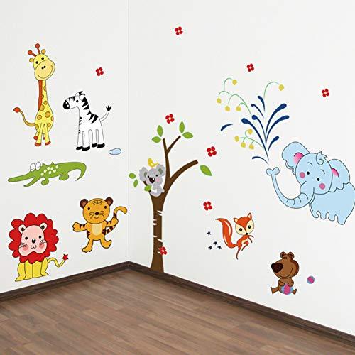 Animal Wall Stickers Jungle Zoo Safari Decoration Nursery Baby Kid Bedroom Decoration Art