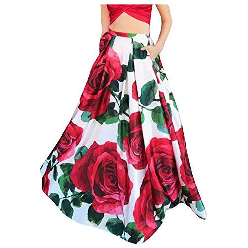 Vestido casual para mujer, falda bohemia con estampado floral de cintura alta, para fiesta, playa, bolsillo largo para día festivo