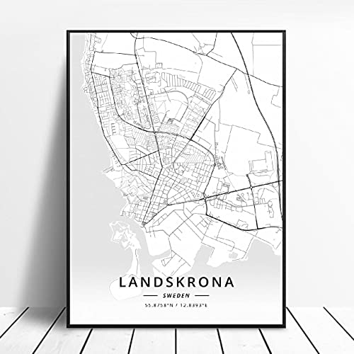 Landskrona Gothenburg Karlstad sodertalje kalmar Sundsvall Sweden Canvas Art Map Poster ?ZW-10? Ingen ram poster 40x60cm
