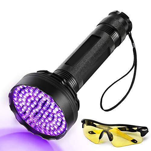 Linterna de bolsillo UV 100 LED con gafas de protección UV para perro, gato, detector de orina, 395nm, lámpara de bolsillo negra para la orina, las manchas, las chinches, etc.