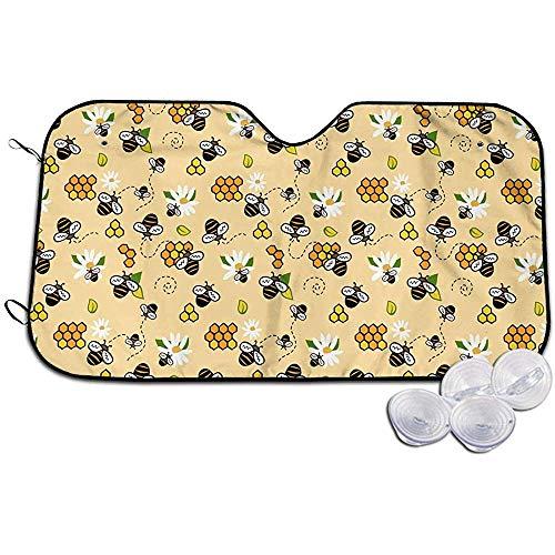 Bijen honing en kamille auto voorruit zon schaduw Blokken UV stralen zon vizier beschermer, zonnekap om uw voertuig koel en schade gratis 147X118CM