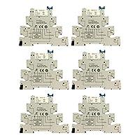 yotijar 6pc hongfa 5 pinリレーソケット6-24v ac/dc 6a hf41f pcbリレー付き