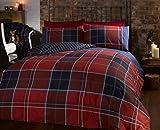 Argyle 12397419 - Set di biancheria da letto, Con copripiumino trapuntato e 2 federe doppia-faccia, Motivo in tartan scozzese, Doppio, Rosso