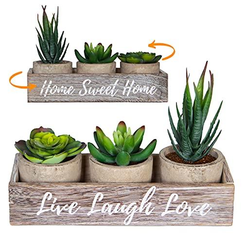 3 Small Fake Succulents Plants Artificial Home Decor...