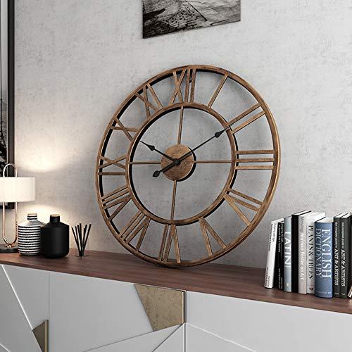 Reloj de Pared Vintage Grande 40 cm / 50 cm / 60 cm, Vintage Metal 3D Reloj de Pared Silencioso con Número Romano Clásico Home Cafe Decor,40cm