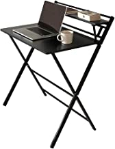 JIWU 2-Style Folding Desk for Small Space, Home Office Workstation with Shelf, Simple Computer Desk Laptop Writing Table