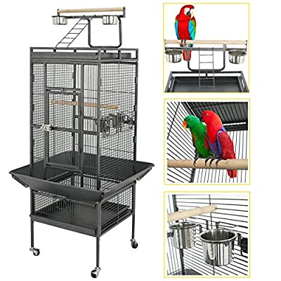 SUPER DEAL PRO 61''/ 68?? 2in1 Large Bird Cage with Rolling Stand Parrot Chinchilla Finch Cage Macaw Conure Cockatiel Cockatoo Pet House Wrought Iron Birdcage, Black