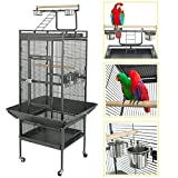 SUPER DEAL PRO 61''/ 68 2in1 Large Bird Cage with Rolling Stand Parrot Chinchilla Finch Cage Macaw Conure Cockatiel Cockatoo Pet House Wrought Iron Birdcage, Black (61'')