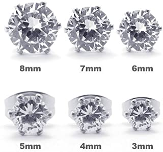 Kalendone Stainless Steel Simulated Diamond Stud Earrings Set,Mens Womens,Silver,3-8mm Christmas Gift Earrings