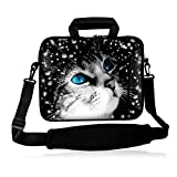 iColor 17' Laptop Computer PC Shoulder Bag 16' 16.5' 17.3' 17.4 inch Laptop Neoprene Messenger Bag Case Cover Holder Protector Pack W/Side Pocket -Cat