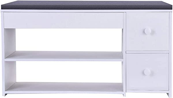 2019New Shoe Bench Rack 2 TierShoe Storage Cabine Shoes Origanizer Cabinet Storage Shelf With Two Drawers Seat For Entryway Hallway Bathroom Living Room White