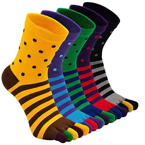 ZAKASA Calcetines Hombres de 5 Dedos, Calcetines Respirable Ciclismo Hombre para Tenis Pádel Running, Calcetines Deportivos Algodón Deporte Hombre