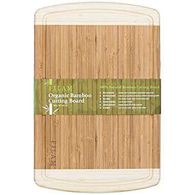 Premium Bamboo Cutting Board with Juice Groove - EXTRA LARGE 18x12 by FILAM GOURMET