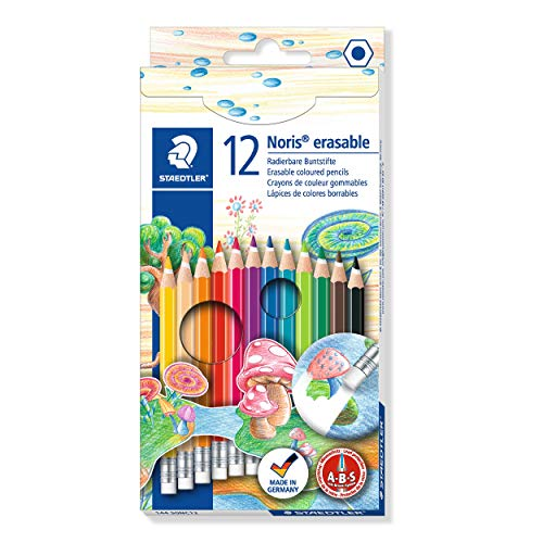 Staedtler Erasable Colored Pencils, 12 Colors (14450NC12)