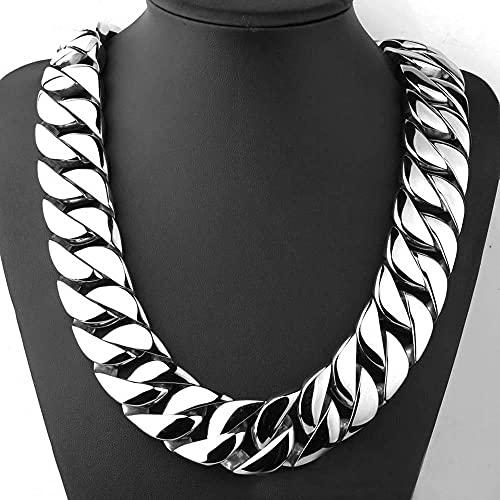 Sobneqce Súper Pesado Cordillo Cadena Cuba Hip Hop Collar de Acero Tono de Acero Inoxidable de Gran tamaño, Enlace de Miami Cuban Regalo (Color : 32mm Width50 cm (20 Inch))