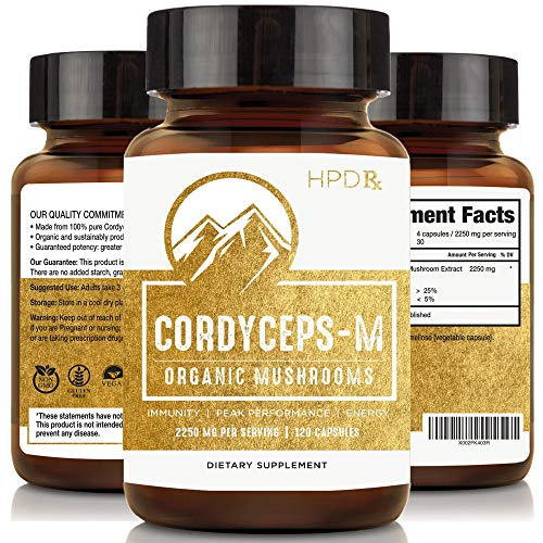 Organic Cordyceps-M Mushroom Extract – 2250 mg (120 Capsules) – Performance, Energy and Immune System Booster Supplement