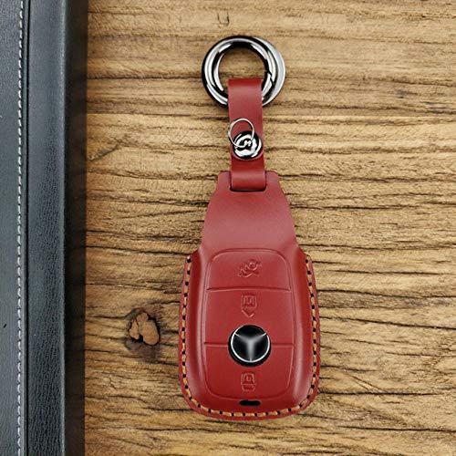 XUHRA Sleutelschaal, handgemaakte lederen koffer voor autosleutels, beschermhoes voor Mercedes Benz C Klasse W205 C200 C180 C260 C300 E Klasse W213 E200 E300 E320