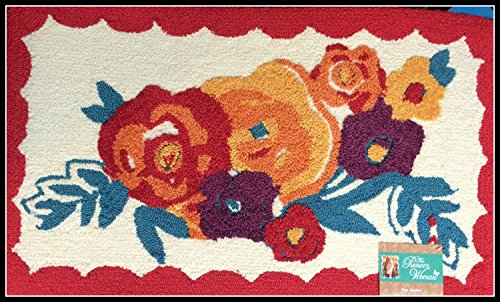 """Pioneer Woman Kitchen Rug Mat Bright Floral Hand Hooked 18"""" by 30"""""""