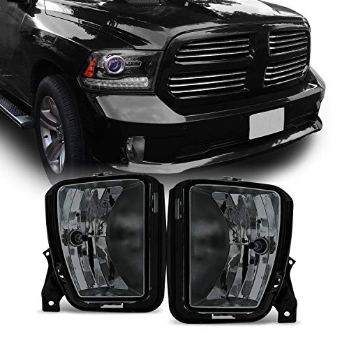 For 2013-2018 Dodge RAM 1500 Smoked Fog Driving Light with Bulbs Assemblies Pair Set