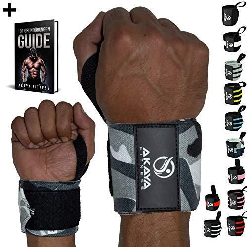 AKAYA Handgelenk Bandagen + Gratis eBook & Anleitung | Wrist Wraps 45 cm Länge | Handgelenkbandage für Fitness, Kraftsport, Bodybuilding & Crossfit - für Frauen und Männer geeignet | Camouflage