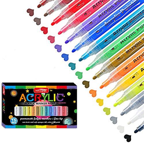 YITHINC Acrylstifte 15 Farben Permanenter Wasserfest Marker Stifte für Steinmalerei,Keramik,Glas,Holz,Leinwand,Kieselsteine,DIY-Projekte,Metall,Ostereier,Schnelltrocknend