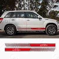NCUIXZH ストライプデカール車体ドアサイドデコレーションステッカーフィット3-5ドアスポーツデカール、鈴木グランドビタラAT MT4X4オフロード用