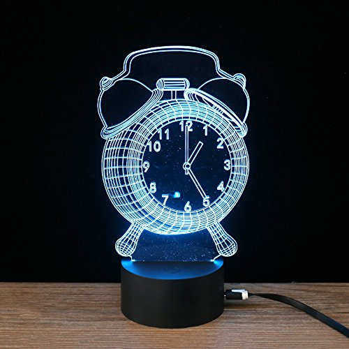 Mode wekker nachtlampje voor kinderen 3D illusie lamp, Touch Button 7 kleuren tafel bureaulamp met afstandsbediening voor kinderkamerdecoratie en kindergeschenken