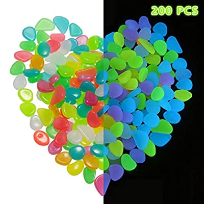 200 Pcs Glowing Pebbles Glow in The Dark Stones...