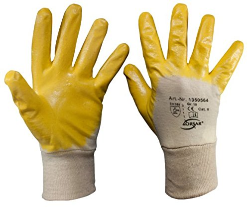 SW-stahl nitrilhandschuh coton taille 10, 10 paires, jaune, z631 pack