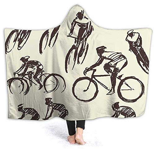 Hand Draw Set Mountain bicclist Bike ccle Sketch Ccling,Wele Throw Blanket Microfiber Bedding for Kids and Adults Biccle M 60''x50''(WxH)