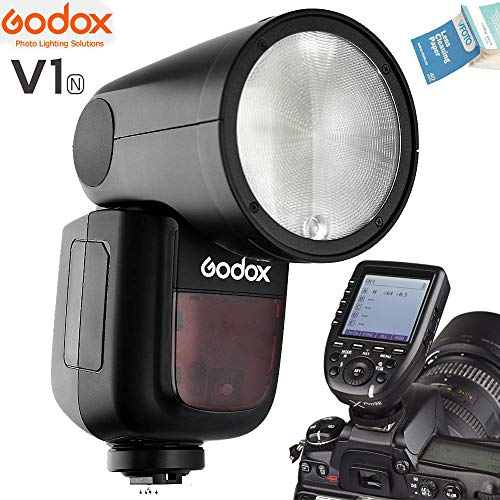 Godox V1 V1-N V1N Round Head Camera Flash with XPro-N Wireless Flash Trigger Interchangeable 2600mAh Lithimu Battery Compatible for Nikon EOS Series Camera