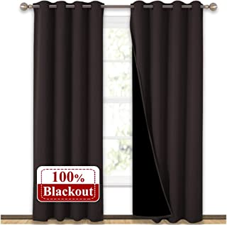 NICETOWN Heat Blocking 100% Blackout Curtains, Durable Black Lined Blackout Curtains for Bedroom, Energy Saving Long Curtains for Patio Sliding Glass Door, Brown, 52 inches x 95 inches, 2 Panels
