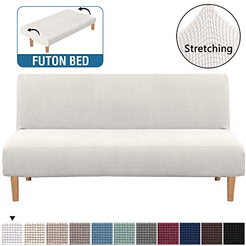 Armless Futon Cover Stretch Sofa Bed Slipcover Protector Elastic Feature Rich Textured Lycra High Spandex Small Checks Jacquard Fabric Sofa Shield Futon Cover, Machine Washable, Ivory White
