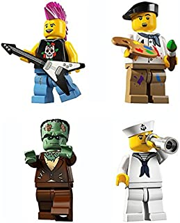 LEGO 8804 Minifigure Series 4 Collectible Bundle Figure Set: Punk Rocker, Painter Artist, Frankenstein Monster, Navy Sailor