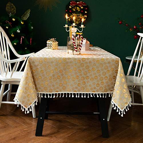 DJUX Mantel de Navidad decoración de Fiesta Mantel Rojo Copo de Nieve Alce Cubierta de Mesa de Vacaciones 90x90cm