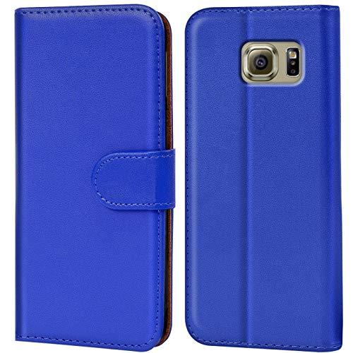 Verco Galaxy S6 Edge Hülle, Handyhülle für Samsung Galaxy S6 Edge Tasche PU Leder Flip Hülle Brieftasche - Blau