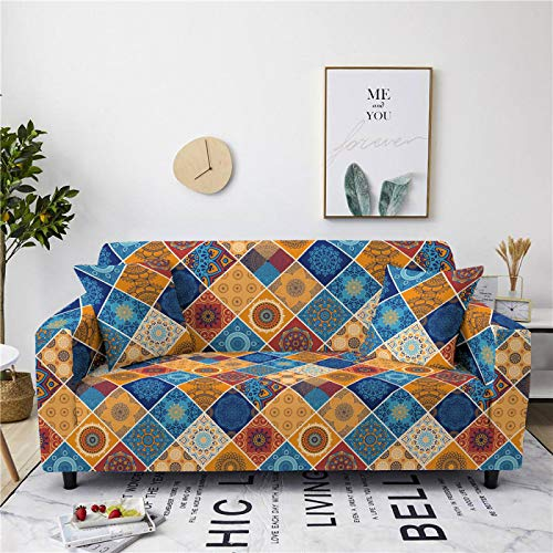 Stretch Sofa Couch Covers Elastic Fabric Blue Geometry Pattern Universal Fitted Armchair Loveseat Settee Slipcover Durable Furniture Protector Home Decor,2,Seat 145,185cm