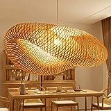 Lámparas vintage Lámparas de bambú natural Lámparas trenzadas Longitud ajustable simple y...