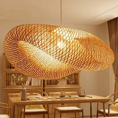 Lámparas vintage Lámparas de bambú natural Lámparas trenzadas Longitud ajustable simple y creativa E27 Lámparas de ahorro de energía Restaurante Habitación Allée Lámparas cálidas,50cm