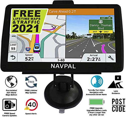 SLIMLINE SAT NAV, (7 INCH) with 2021 UK EUROPE EDITION + FREE Lifetime Updates [100% no hidden fees], GPS Navigation for Car Truck Motorhome, Features Postcodes, Speed Cam Alerts, Lane Guidance