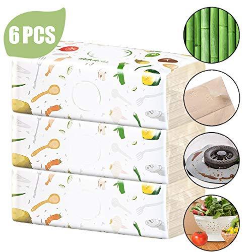 Home Kitchen Clean papieren handdoeken, 6 Pattern Rolls Dik Printing Multifunctionele absorberende Roll Rag Wassen Papier, sterk absorberend Handdoeken voor dagelijks gebruik